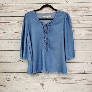 Lovers + Friends 3/4 Sleeve Lace Up Top